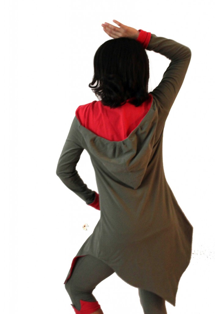 Forest Reversible hoodie in olive green and coral color