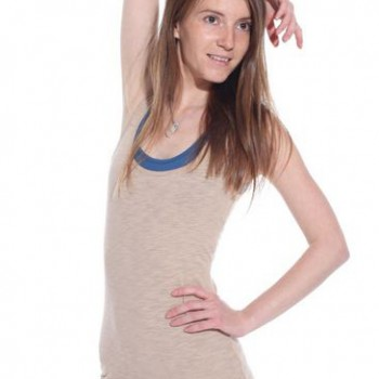 Love nature double tank top in blue+ecru color