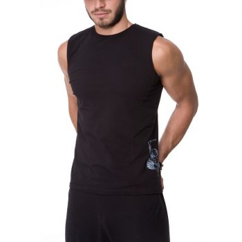 Male Ganesha Rocks sleeveless top, urban black color