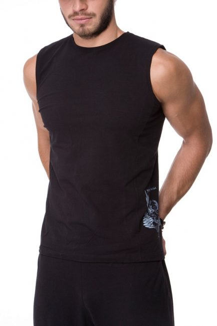 Male Ganesha Rocks sleeveless top, urban black color