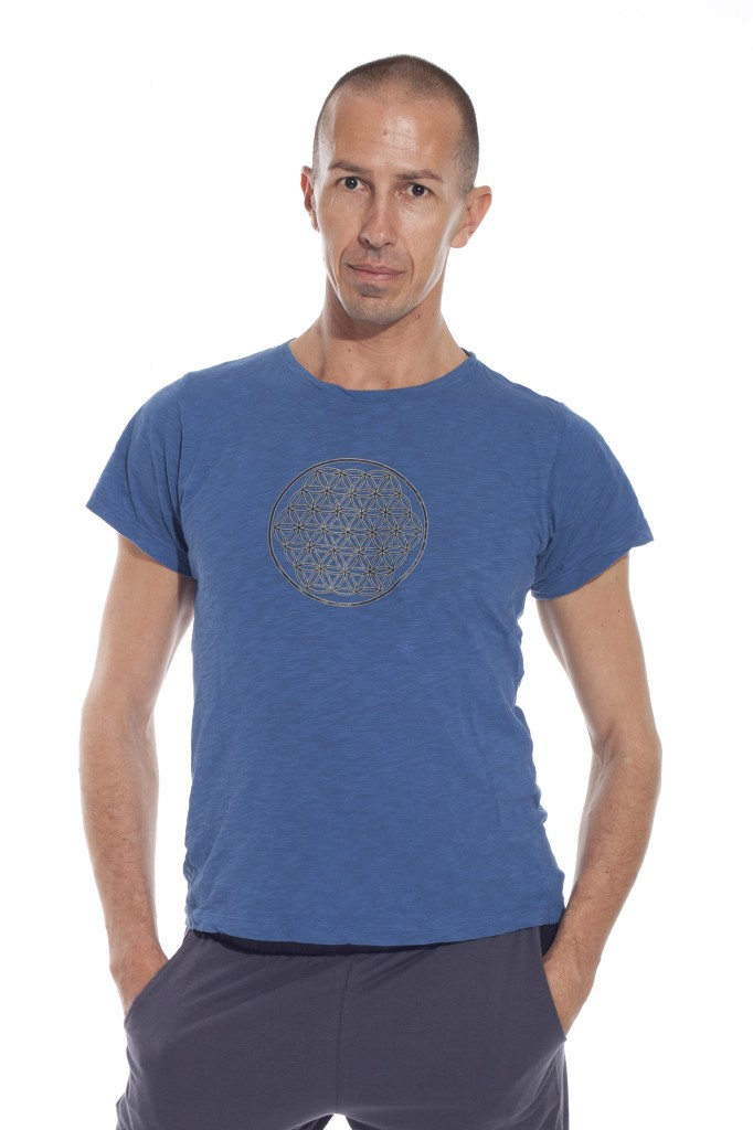 flower of life male t-shirt in blue